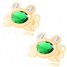 Cercei din aur 585 - broscuţă strălucitoare cu oval verde şi ochi transparenţi - Cercei aur
