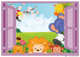 Sticker copii - Animale pe fereastra