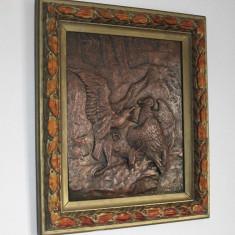 Sculptura veche , cupru - 1903 , semnata , personalizata - Otto Glauflugel