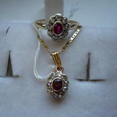 LICHIDEZ COLECTIE- SET ANTIC RUBIN CU BRILLIANTE - Set bijuterii aur