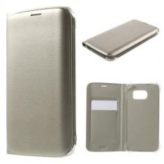 Husa Samsung Galaxy S6 Edge - Flip Cover Gold - Husa Telefon