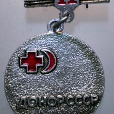 I.251 INSIGNA RUSIA URSS CRUCEA SEMILUNA ROSIE DONATOR SANGE CLS. II h37mm, Europa