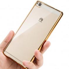 Husa Huawei P8 Lite Gel TPU Electroplating Gold - Husa Telefon