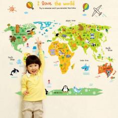 Autocolant educativ - Harta animata a lumii pentru copii