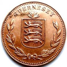 WW2, BRITISH GUERNSEY, 8 DOUBLES 1945 H, TIRAJ 192.000 EX., DIAMETRU 32mm., Europa, Cupru (arama)