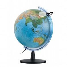 Glob pamantesc iluminat Falcon, 40 cm, harta fizica si politica, lupa inclusa