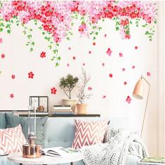 Sticker decorare camera - Flori de cires roz si fluturi