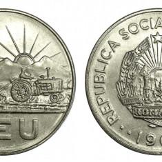 ROMANIA 1 LEU 1966 DIN FISIC UNC NECIRCULATA - Moneda Romania, Cupru-Nichel