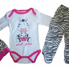 Set 3 piese - body, pantaloni si caciulita - model zebra - 68 cm