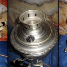 Samovar rusesc vechi din alama cromata. - Metal/Fonta