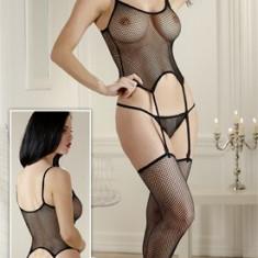 Lenjerie sexy din 3 parti - Negru - S/M - Lenjerie sexy femei