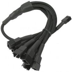 Cablu adaptor pentru ventilatoare Nanoxia 1x 3 pini la 6x 3 pini, 60 cm, negru