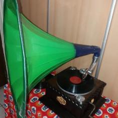 Gramofon - HIS MASTER ' S VOICE - cu palnie FOARTE MARE - Original cca. 1910