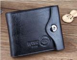 Portofel  negru piele eco + textil maro wobo Jeans capsa siguranta incapator, Coffee, Cu inchizatoare