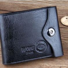 Portofel negru piele eco + textil maro wobo Jeans capsa siguranta incapator - Portofel Barbati, Coffee, Cu inchizatoare