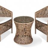 Set mobilier terasa, bar KNAKI masa rotunda cu 2 fotolii din ratan Raki - Mobila terasa gradina