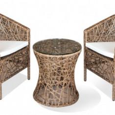 Set mobilier terasa, bar KNAKI masa rotunda cu 2 fotolii din ratan Raki - Set gradina