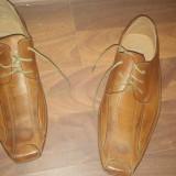 Pantofi TJTJ Piele naturala 42 - Pantofi barbat, Culoare: Maro