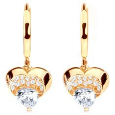 Cercei din aur 585 - cerc cu inimă strălucitoare atârnătoare, zirconii transparente - Cercei aur