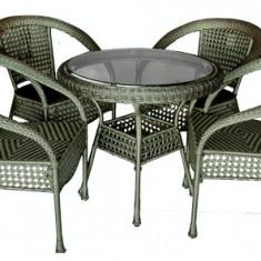 Set SAMOA mobila terasa, gradina din ratan 5 piese masa rotunda 80cm si 4 scaune cu brate Raki - Set gradina