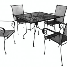 Set mobilier terasa,gradina din fier forjat PORTO Masa patrata 91x91cm cu 4 scaune Raki