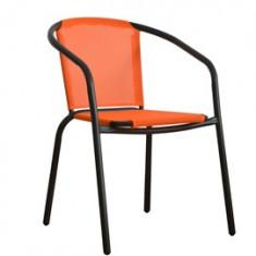 Scaun din aluminium MN0166145 orange cu cadru negru Raki - Scaun gradina