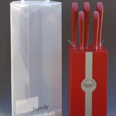 Set cutite bucatarie cu suport, culoare rosie BH930965 Raki - Cutit bucatarie