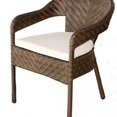 Scaun cu brate din ratan PVC cu perna scaun gri C 118 culoare cafea Raki - Mobila Rattan