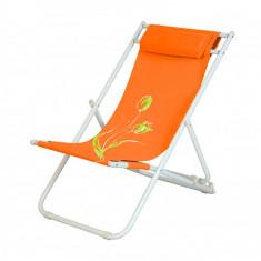 Scaun pliant 3 pozitii pentru camping,plaja FLOWER 7 culoare orange Raki