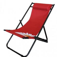 Scaun pliant 3 pozitii pentru camping,plaja FLOWER 57 culoare rosie Raki