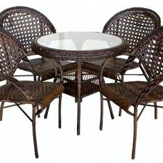 Set MONACO mobila terasa, gradina din ratan 5 piese masa rotunda 80cm si 4 scaune cu brate Raki - Set gradina