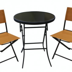 Set mobilier gradina, terasa BISTRO masa rotunda cu 2 scaune pliante orange Raki - Set gradina