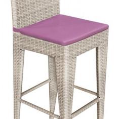 Scaun GRANDE pentru bar din ratan culoare gri cu perna scaun mov Raki
