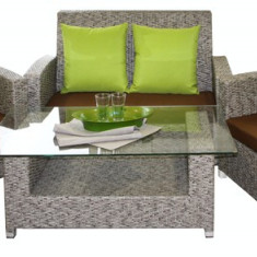 Set mobilier gradina, terasa KALINA NICE din ratan 4 piese masa, canapea, 2 fotolii, culoare gri Raki - Set gradina