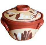 Oala ceramica,lut CAMBANCA 500ml cu decor Devon, Vas ceramic