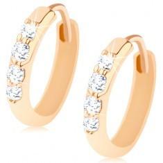 Cercei cu pivot, aur 14K, cercuri decorate cu o linie de zirconii transparente - Cercei aur