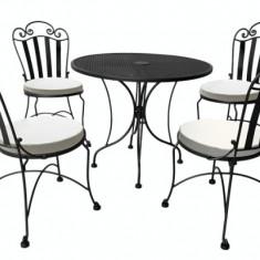 Set mobila terasa,gradina din fier forjat BISTRO Masa rotunda 80cm cu 4 scaune si perne scaun Raki