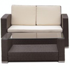 Set mobilier terasa,gradina KALINA MATO din ratan 4 piese masa, canapea si 2 fotolii culoare cafea Raki