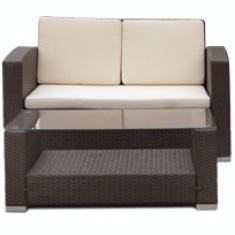 Set mobilier terasa, gradina KALINA MATO din ratan 4 piese masa, canapea si 2 fotolii culoare cafea Raki - Set gradina