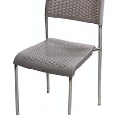 Scaun CLASSIC cu picioare cromate din poli-ratan culoare gri Raki