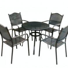 Set mobiler gradina/terasa KALINA MOSSEL aluminiu masa rotunda si 4 scaune culoare bronz Raki - Set gradina