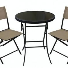 Set mobilier gradina, terasa BISTRO masa rotunda cu 2 scaune pliante bej Raki - Set gradina