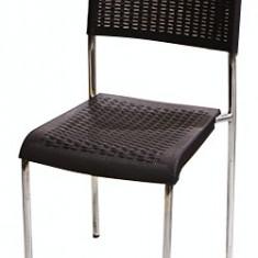 Scaun CLASSIC cu picioare cromate din poli-ratan culoare cafea Raki