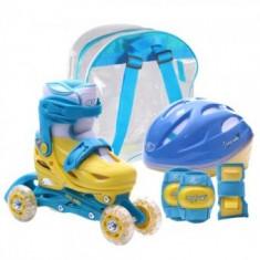 Set role reglabile pentru copii cu pozitionarea multipla a rotilor - Albastre, Patine cu rotile