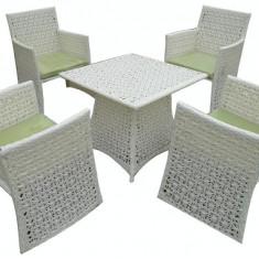 Set mobilier gradina,terasan FLORANCE din ratan 5 piese masa patrata si 4 scaune cu brate Raki