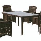 Set mobilier gradina, terasa MODENA din ratan 7 piese masa dreptunghiulara si 6 scaune cu brate Raki - Mobila terasa gradina