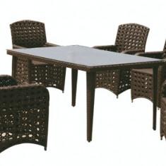 Set mobilier gradina, terasa MODENA din ratan 7 piese masa dreptunghiulara si 6 scaune cu brate Raki - Set gradina