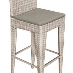 Scaun GRANDE pentru bar din ratan culoare gri cu perna scaun gri Raki - Mobila pentru terasa