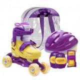 Set role reglabile pentru copii cu pozitionarea multipla a rotilor - Mov, Patine cu rotile