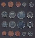 NORVEGIA █ SET COMPLET DE MONEDE 1+2+5+10+25+50 Ore +1+5+10 Kroner 1972-1983 UNC, Europa